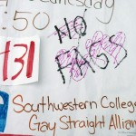 CAMPUS REJECTS HATE SPEECH — Students and administrators have condemned the vandalism of a Gay Straight Alliance poster. More than 130 students attended a rally supporting GSA and gay students at SWC.