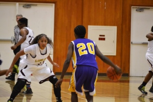 NO PASSING ZONE — SWC point guard Gabby Robledo locks down on defense during a 76-56 home open win against LA Trade Tech College.  Alejandra Rosales/staff