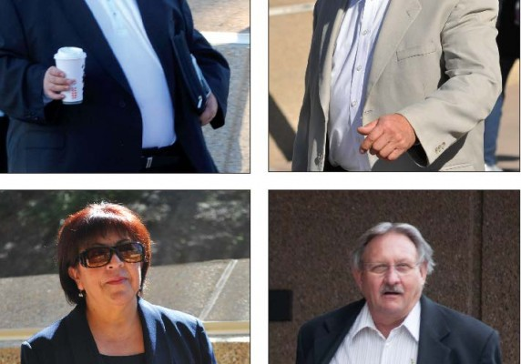 PLEADING OUT— Four more Southwestern College officials charged in the South Bay Corruption Scandal pleaded guilty. (clockwise) Nicholas Alioto, Jorge Dominguez, John Wilson, Yolanda Salcido.  Photos by Marshall Murphy and Serina Duarte/Staff