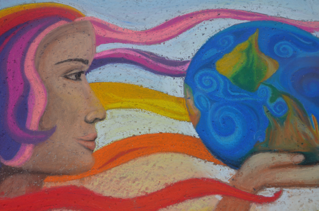 "FESTIVAL OF COLORS  – ""Left is Right"" by Sonia Morelos at the street painting festival.   Photo by Karen Tome"