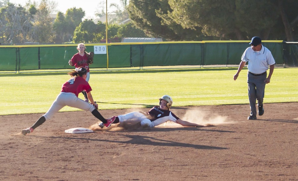 STEAL WHEELS- Kayla Appenzeller swipes second in a 14-0 route of Mt. San Jacinto College.