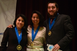 Debate teams from Southwestern College and Universidad La Salle Noroeste engaged in a scintillating debate about immigration and border issues. The Mexican students were declared the victors, but both sides were winners. (top,l-r) Nallely Valde, Marcela Batiz and Javier Albarran of ULSN with their champions medals.