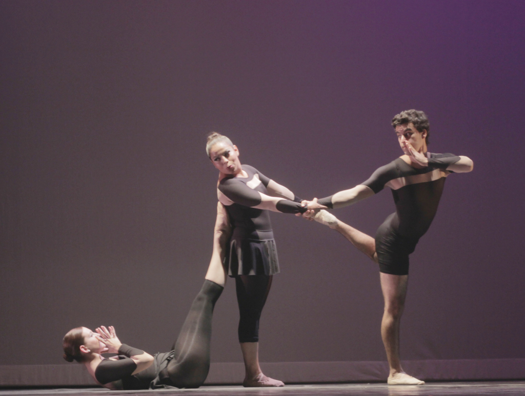 "A STRANGE ARRANGEMENT – Syndee Cruse, Hilda and Ryan Brown dance together in ""Gossip Soup,"" a delightful number in ""Dance Recipes.""  Melvin Graham/Staff"