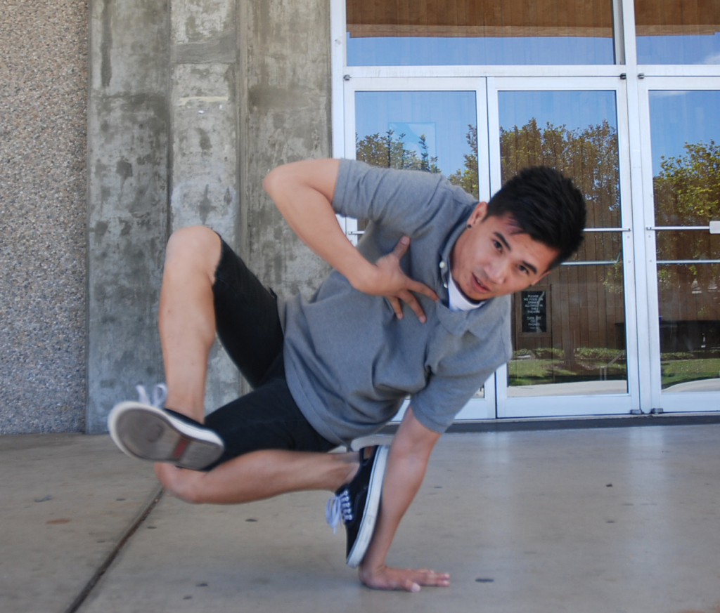 Adjunct instructor Dr. Jae Calanog breakdances in front of Mayan Hall as part of a weekly regimen that relieves stress from juggling teaching positions at Southwestern, Mesa and Grossmont College. Calanog is an award-winning breakdancer and a Ph.D. in physics. PHOTO BY Serina Duarte