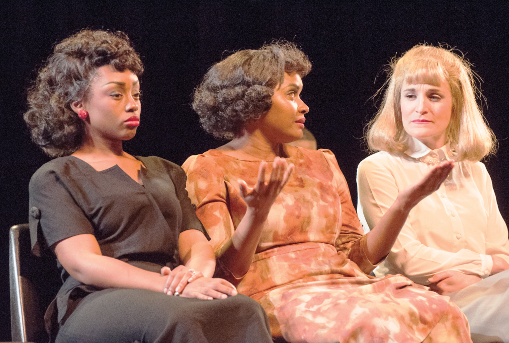 "(Left to right) Chashae Monya, Monique Gaffney, and Samantaha Ginn's discuss their characters and the pros and cons of the theatre business during a post-show actor Q and A for ""Trouble in Mind."" PHOTO BY April Abarrondo"