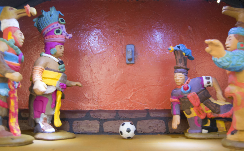 Aztec warriors engage in a game of soccer. PHOTO BY Kenslow Smith