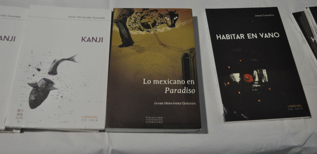 "Books by Josue Camacho and Javier Hernandez Quezada avaliable at the ""Baja Writers"" poetry event held at the Student Union East. PHOTO BY April Abarrondo"