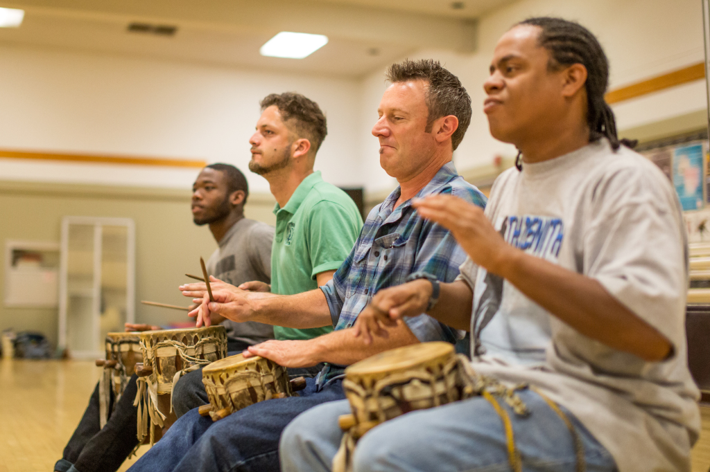 HANDS ON INSTRUCTION - Ronald Williams, Christian Lopez, Todd Caschetta and Joe Grant play drums for instructor Akayaa Atule's dance class. PHOTO BY David Hodges