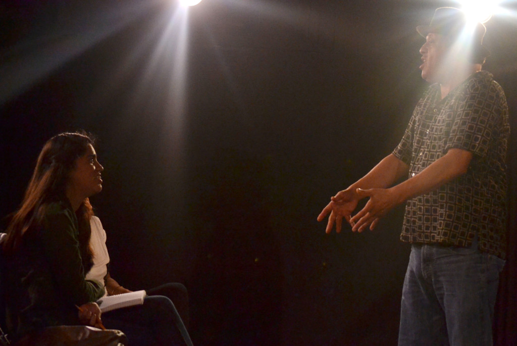 INSPIRING WORDS— Paul Rodriguez comically explains the use of body language in acting to a student.