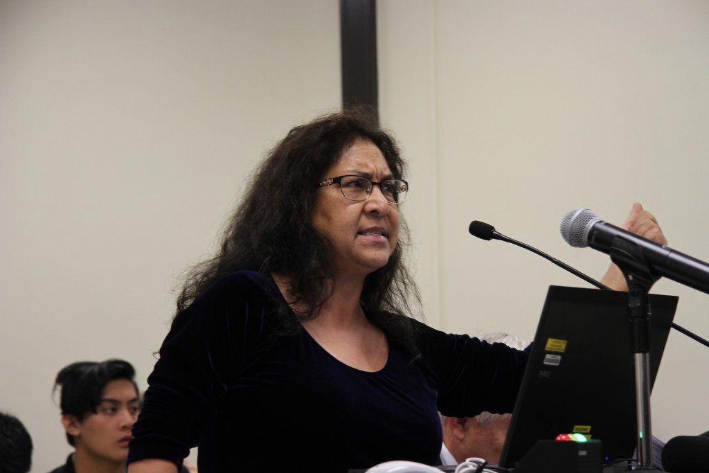 Carina Soto, former SCEA president and professor, addresses the board about the events that transpired and Dr. Guadalupe Rodriguez Corona's treatment by college leadership