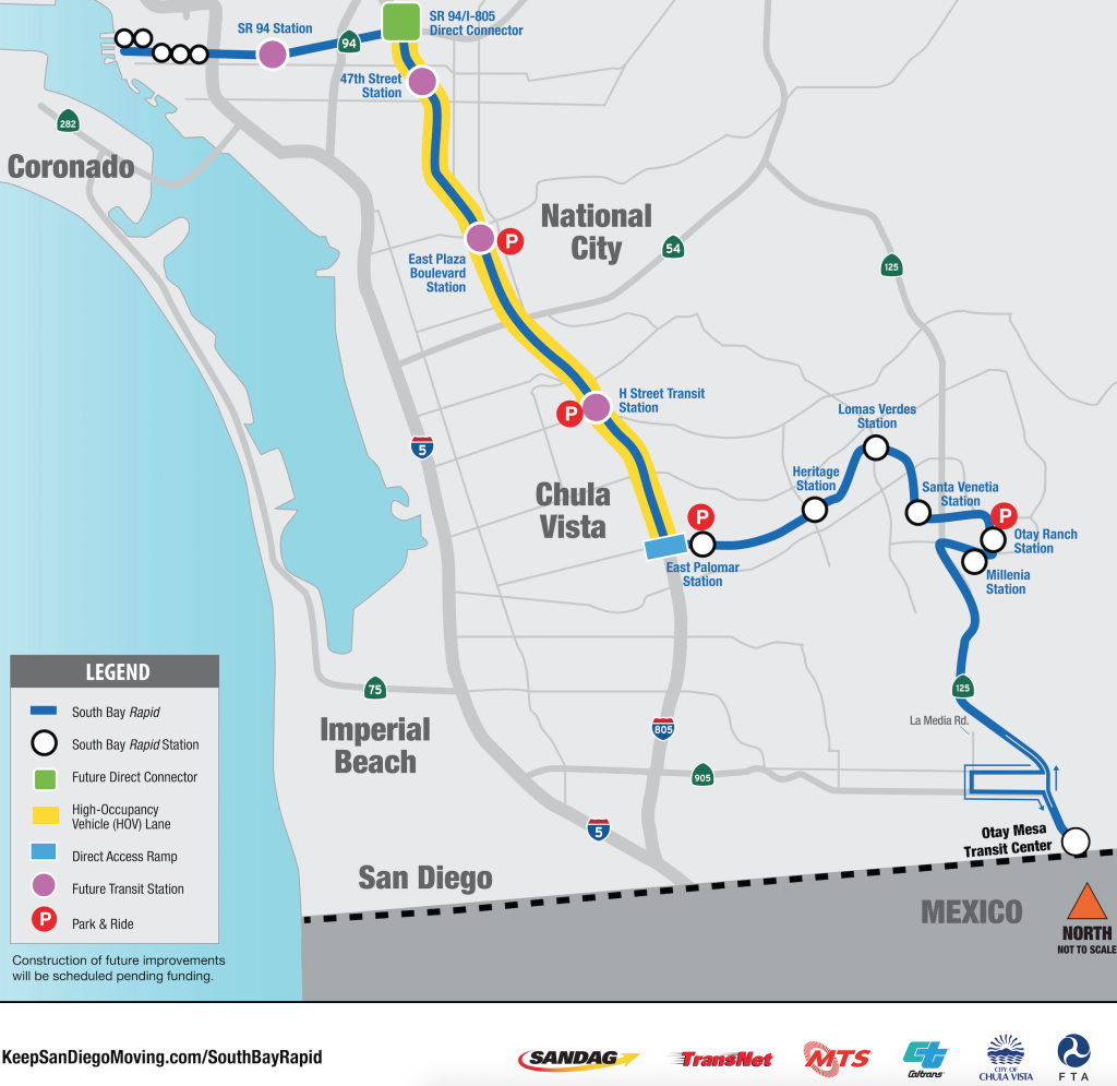 South Bay Rapid will provide express bus service between Downtown San Diego and Otay Mesa.