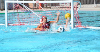 The enter net is down— Maria Tello switched positions to become the Lady Jaguars'  goalie. She and Karina Reynoso make a stop against Miramar College player Hannah Fries. Photo by Tayler Costello