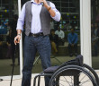 Former U.S Marine and five-time Paralympic Games gold medalist Oz Sanchez told guests at the Disability Awareness Celebration to believe in themselves and push against the impossible. Photo by Natalie Mosqueda.