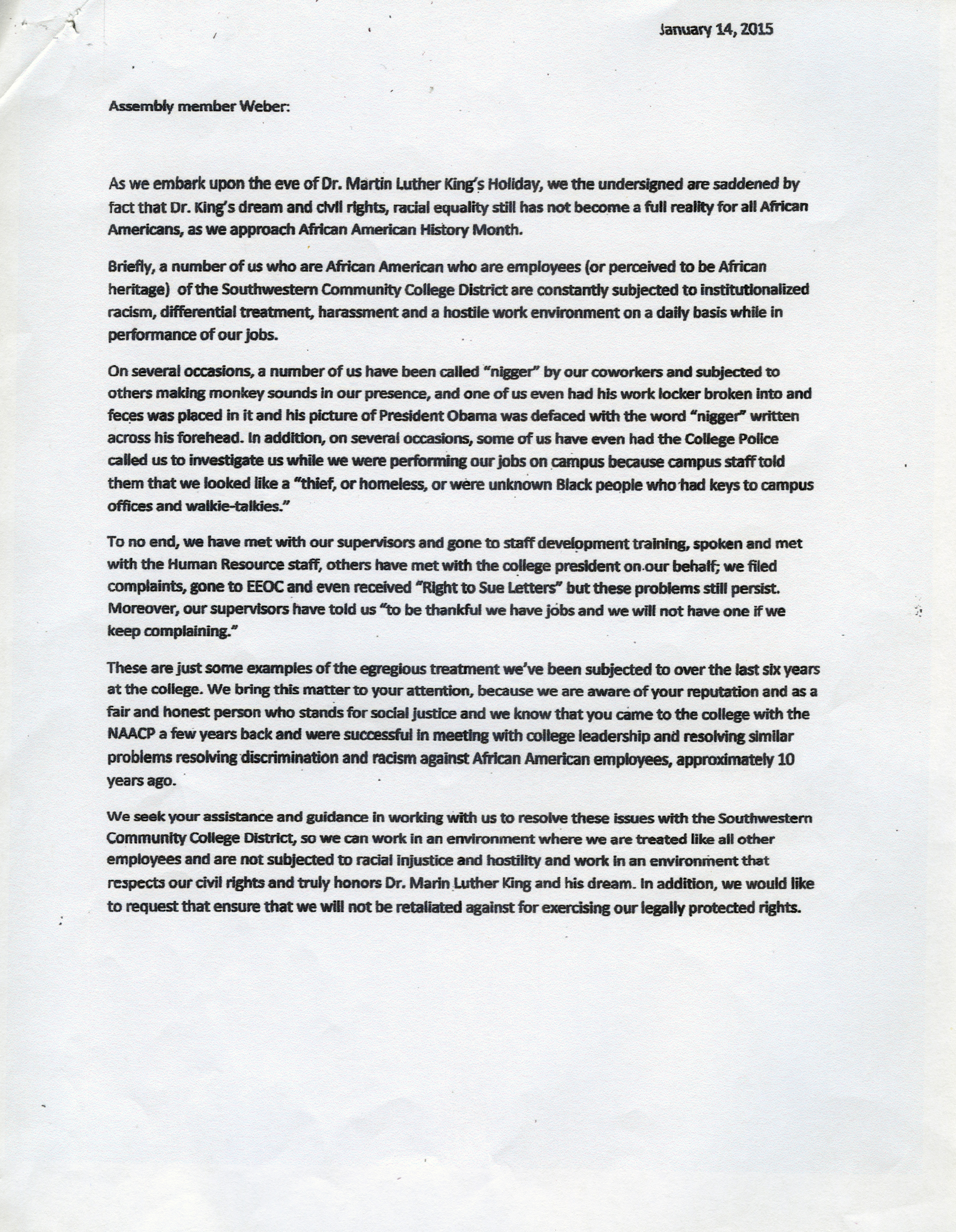 Sample Discrimination Complaint Letter from www.theswcsun.com